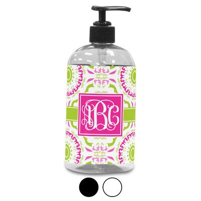 Pink & Green Suzani Plastic Soap / Lotion Dispenser (Personalized)