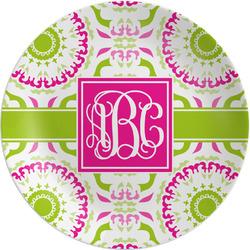 "Pink & Green Suzani Melamine Plate - 8"" (Personalized)"