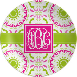 Pink & Green Suzani Melamine Plate (Personalized)