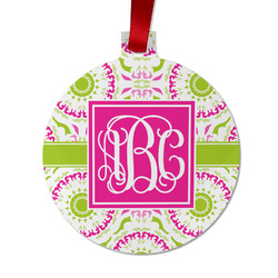 Pink & Green Suzani Metal Ball Ornament - Double Sided w/ Monogram