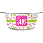 Pink & Green Suzani Stainless Steel Dog Bowl (Personalized)