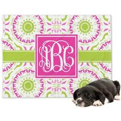 Pink & Green Suzani Minky Dog Blanket (Personalized)