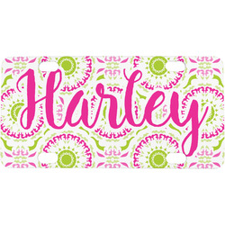 Pink & Green Suzani Mini / Bicycle License Plate (Personalized)
