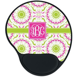 Pink & Green Suzani Mouse Pad with Wrist Support