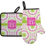 Pink & Green Suzani Oven Mitt & Pot Holder Set w/ Monogram