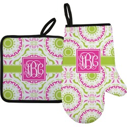 Pink & Green Suzani Oven Mitt & Pot Holder (Personalized)