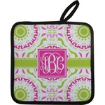 Pink & Green Suzani Pot Holder w/ Monogram