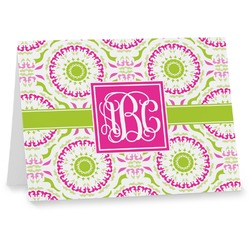 Pink & Green Suzani Note cards (Personalized)
