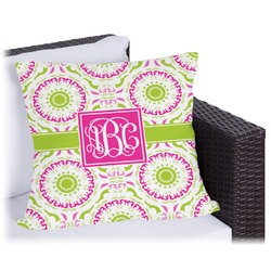 Pink & Green Suzani Outdoor Pillow (Personalized)