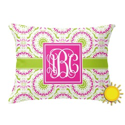 Pink & Green Suzani Outdoor Throw Pillow (Rectangular) (Personalized)