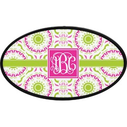 Pink & Green Suzani Oval Trailer Hitch Cover (Personalized)