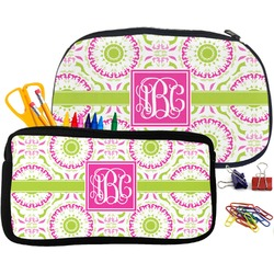 Pink & Green Suzani Pencil / School Supplies Bag (Personalized)