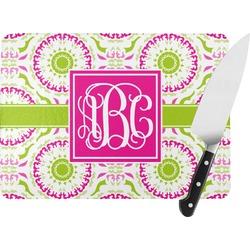 Pink & Green Suzani Rectangular Glass Cutting Board (Personalized)