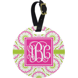 Pink & Green Suzani Round Luggage Tag (Personalized)