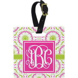 Pink & Green Suzani Square Luggage Tag (Personalized)