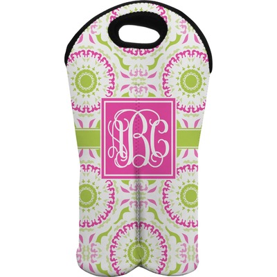 Pink & Green Suzani Wine Tote Bag (2 Bottles) (Personalized)