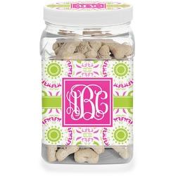 Pink & Green Suzani Pet Treat Jar (Personalized)