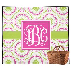 Pink & Green Suzani Outdoor Picnic Blanket (Personalized)