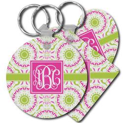 Pink & Green Suzani Plastic Keychains (Personalized)