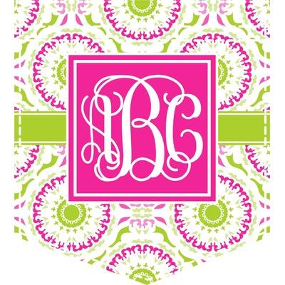 Pink & Green Suzani Iron On Faux Pocket (Personalized)