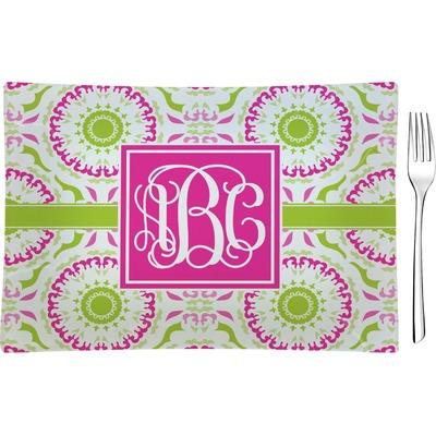 Pink & Green Suzani Rectangular Glass Appetizer / Dessert Plate - Single or Set (Personalized)