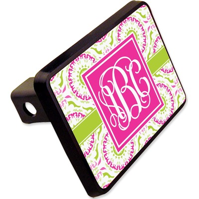 """Pink & Green Suzani Rectangular Trailer Hitch Cover - 2"""" (Personalized)"""