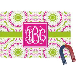 Pink & Green Suzani Rectangular Fridge Magnet (Personalized)