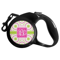 Pink & Green Suzani Retractable Dog Leash - Multiple Sizes (Personalized)