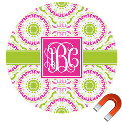 Pink & Green Suzani Round Car Magnet (Personalized)