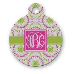 Pink & Green Suzani Round Pet Tag (Personalized)