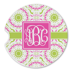 Pink & Green Suzani Sandstone Car Coasters (Personalized)