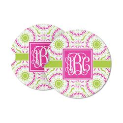 Pink & Green Suzani Sandstone Car Coasters (Personalized)