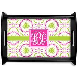 Pink & Green Suzani Black Wooden Tray (Personalized)
