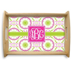Pink & Green Suzani Natural Wooden Tray (Personalized)