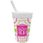 Pink & Green Suzani Sippy Cup with Straw (Personalized)