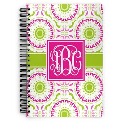 Pink & Green Suzani Spiral Bound Notebook (Personalized)