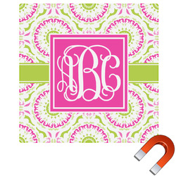Pink & Green Suzani Square Car Magnet (Personalized)