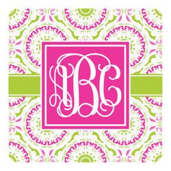 Pink & Green Suzani Square Decal - Custom Size (Personalized)