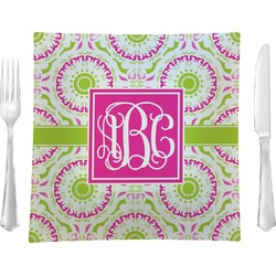 """Pink & Green Suzani 9.5"""" Glass Square Lunch / Dinner Plate- Single or Set of 4 (Personalized)"""