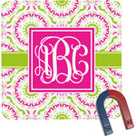 Pink & Green Suzani Square Fridge Magnet (Personalized)