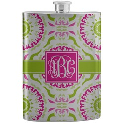 Pink & Green Suzani Stainless Steel Flask (Personalized)