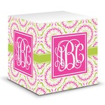 Pink & Green Suzani Sticky Note Cube (Personalized)