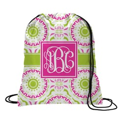 Pink & Green Suzani Drawstring Backpack (Personalized)