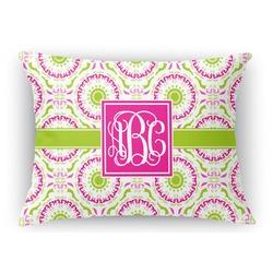 Pink & Green Suzani Rectangular Throw Pillow Case (Personalized)