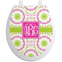 Pink & Green Suzani Toilet Seat Decal (Personalized)