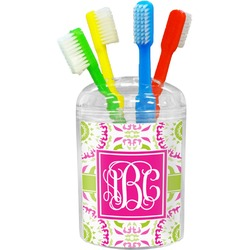 Pink & Green Suzani Toothbrush Holder (Personalized)