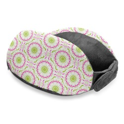 Pink & Green Suzani Travel Neck Pillow (Personalized)