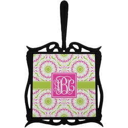 Pink & Green Suzani Trivet with Handle (Personalized)