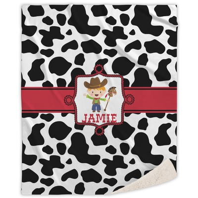 Cowprint w/Cowboy Sherpa Throw Blanket (Personalized)