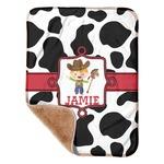 "Cowprint w/Cowboy Sherpa Baby Blanket 30"" x 40"" (Personalized)"